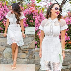 Discover this look wearing White Sheinside Dresses, Yellow Via Lulus Chinese Laundry Shoes, Ted Baker Bags - Ladylike Vibes by elizabethkeene styled for Classic, Everyday White Beige, Yellow Dress, Stylists, Short Sleeve Dresses, Style Inspiration, Elegant, How To Wear, Real People, Casual Chic