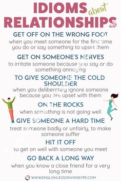 English Idioms about Relationships English Idioms about relationships. English idioms with meanings and examples. Easy way to improve English speaking skills. Teaching English Grammar, English Writing Skills, English Vocabulary Words, English Language Learning, English Lessons, Teaching Spanish, French Lessons, German Language, Spanish Lessons