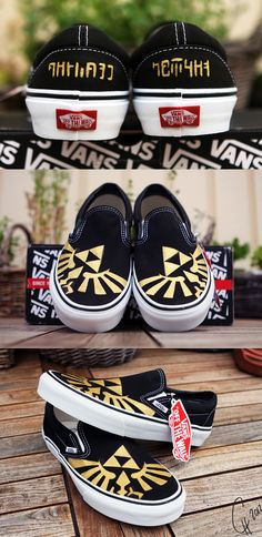 Handpainted Zelda Triforce Shoes   - Another pin closer to a million pins! Wrhel.com