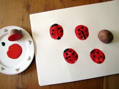 Potato print lady bugs with black finger prints for spots. Potato Print, Potato Stamp, Toddler Crafts, Crafts For Kids, Arts And Crafts, What The Ladybird Heard Activities, Painting For Kids, Art For Kids, Karten Diy