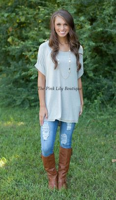 The Pink Lily Boutique - Penny For Your Thoughts Mocha Tunic , $28.00 (http://thepinklilyboutique.com/penny-for-your-thoughts-mocha-tunic/)