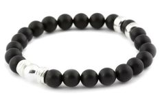 [BRACELET BE PROUD NOIR / BLACK BE PROUD BRACELET] Bracelet pour hommes en bois 8mm et argent 925. | Bracelet for men in 8mm matte onyx and sterling silver.