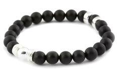 [BRACELET BE PROUD NOIR / BLACK BE PROUD BRACELET] Bracelet pour hommes en bois 8mm et argent 925. | Bracelet for men in 8mm matte onyx and sterling silver.