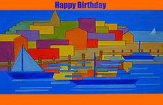 Add Name Front Birthday card cubic harbour