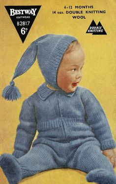 Items similar to Vintage Babys Pixie Suit, Knitting Pattern, 1960 (PDF) Pattern, Bestway 2817 on Etsy Baby Knitting Patterns, Baby Patterns, Crochet Patterns, Pram Sets, Pattern Pictures, Vintage Knitting, Double Knitting, Vintage Children, Knitting Projects