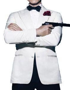 Look like Daniel Craig, in this gorgeous white peak lapel tuxedo with matching pants. #PromTuxedo #Tuxedo #WhiteTuxedo #WeddingTuxedo #PromTux #WeddingTux #Tux #Wedding #Prom