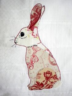 Embroidered Appliquéd Bunny in vintage French fabrics on by orchil