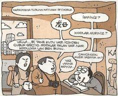 - Kapadokya turuna katılmak istiyoruz. + İsminiz? - ** + Kodlar mısınız? - Vallahi... Bi tane kutu var. İçinden çubuk geçiyo. Sopalar falan var. Nası kodluyim lan ben bunu? + Çançincon ailesi yazayım mı? - Yaz mına koyim...  #karikatür #mizah #matrak #komik #espri #şaka #gırgır #komiksözler