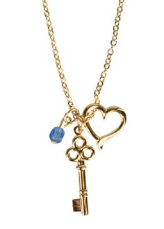 """[""""Dainty necklace with gold plated key and heart charms; detailed with one sparkling blue crystal bead; on 18\"""" slender chain with secure lobster claw clasp and signature medallion.<div style=\""""font-weight: normal; font-style: normal;\""""><br><\/div><div><b>Product Details:<\/b><\/div><div style=\""""font-weight: normal; font-style: normal;\"""">18\"""" chain<\/div><div style=\""""font-weight: normal; font-style: normal;\"""">Gold plated<\/div><div style=\""""font-weight: normal; font-style: ..."""