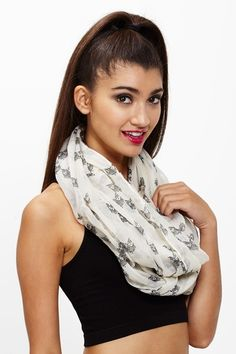 A Real Hoot Ivory Owl Infinity Scarf only $8.99