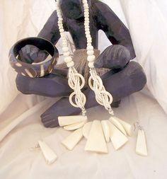 African Tribal Buffalo Bone Necklace #402