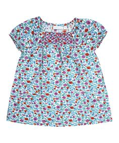 Look at this Turquoise Floral Smocked Top - Infant, Toddler & Girls on #zulily today!