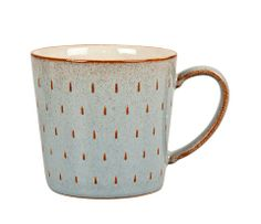 """Denby Pottery - Portico Cascade Mug 2014. Grey glaze with the rustic speckle picking up the  raindrop relief texture, an effect we call the """"glaze edge break"""", which you can see on the rim and handle too."""