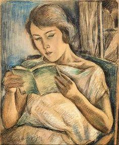 Jeune femme lisant by Maurice Mendjisky born 1890 in Lodz, Poland died 1951 in Saint-Paul de Vence, France