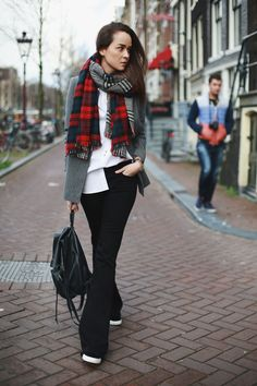 plaid scarf, leather backpack and wide leg jeans via Style Scrapbook