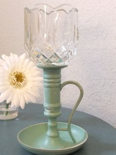 Vintage Brass Candleholder Upcycled And By ThisVintageLady On Etsy, $10.50