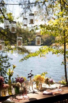 love the hanging mason jars