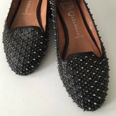 """Jeffery Campbell """"Martini"""" Loafers Fabulous almond toe loafers, 2 sizes of silver tone studs all over shoes, lighted padded foot bed with logo stamp, leather sole, lining and upper. Some minimal wear and missing studs not noticeable see photos. Pre owned is exceptionally clean Jeffrey Campbell Shoes Flats & Loafers"""