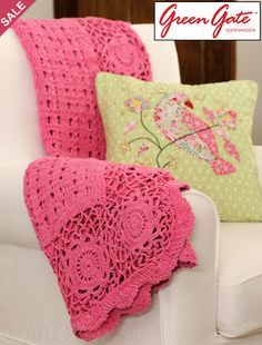 Gorgeous solid pink mixed style crochet afghan