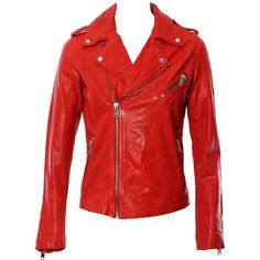 LaMarque Collection Kiyoshi Washed Lamb Leather Jacket (675 AUD) ❤ liked on Polyvore featuring outerwear, jackets, lamb leather jacket, lamarque jacket, lambskin jacket, lamarque and red jacket