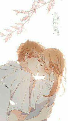 Manga: love like cherry blossoms Anime Cupples, Anime Kiss, Romantic Anime Couples, Cute Anime Couples, Cute Couple Art, Anime Love Couple, Anime Couples Drawings, Anime Couples Manga, Cherry Blossom Wallpaper