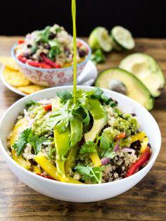 Black Bean Quinoa Bowl with Cilantro Honey Lime Vinaigrette | Veggie and the Beast