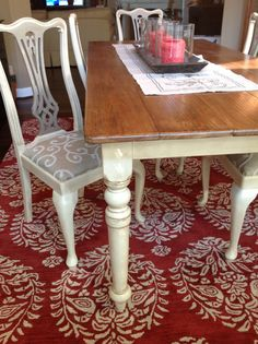 My favorite project completed to date!  My dining room table is pine and originally had a light stain and beeswax finish.   I stripped and sanded only the top of the table, then used minwax gel stain, followed by 3 coats of wipe-on poly wax.   The rest of the table and chairs are painted with Annie Sloan chalk paint, Old Ochre, and the chair backs with Annie Sloan coco paint.  I used 180 gritt sandpaper to distress my table, then clear wax followed by dark wax