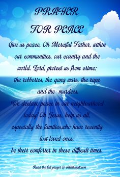 Prayer for Peace: Finding The Peace Of God Through The Power Of Prayer Prayer For Peace, Peace Of God, God Prayer, Power Of Prayer, Daily Prayer, Prayer Room, Prayer Quotes, Prayer Against Curses, Spiritual Warfare Prayers