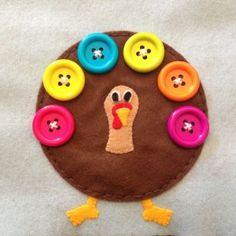 Turkey Button Quiet Book Page 2