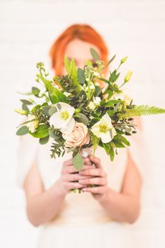 Green Foliage Wedding Bouquet   Natural Inspiration Shoot   Greenery Inspiration   Foliage Inspiration   http://www.rockmywedding.co.uk/natural-romanticism/   Image by Love That Smile Photography