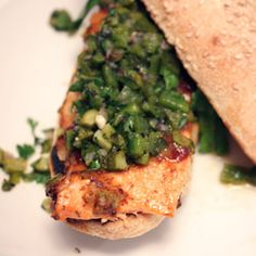 Grilled Salmon Sandwiches with Pineapple-Mustard Glaze and Green Chile-Pickle Relish