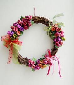 Spring roses wreath colourful ceramic roses by AkatosCollectibles, $74.50
