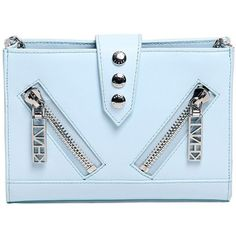 Kenzo Women Mini Kalifornia Smooth Leather Bag (2,500 EGP) ❤ liked on Polyvore featuring bags, handbags, shoulder bags, clutches, light blue, mini shoulder bag, studded purse, studded shoulder bag, miniature purse e blue studded handbag