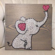 CUSTOM Elephant String Art Sign Baby Elephant Love di KiwiStrings
