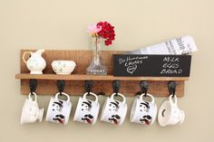 #Coffee Mug Rack #Coffee Mug Holder with Shelf. Our wall mounted Coffee Mug holder with mail slot, chalkboard and 6 hooks is the perfect blend of functional design and old-fashioned charm.                                                                                                                                                                                 More
