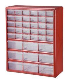 Stack-On DSR-39 39 Bin Plastic Drawer Parts Storage Organizer Cabinet, Red - Amazon.com