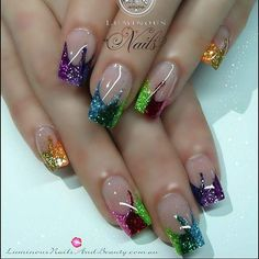 These look like Mardi Gras nails. Fabulous Nails, Gorgeous Nails, Pretty Nails, Acrylic Nail Designs, Nail Art Designs, Acrylic Nails, Nails Design, Funky Nail Designs, French Nail Designs
