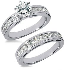 3.54 Carats Diamond Engagement Ring Set- love the thicker band and prongs. Looks sturdy.