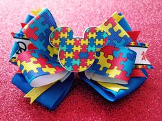 Autism Awareness Mickey Mouse Blue Peace Love Autism Awareness Support Ribbon Snap Style Hair Bow by Tutus4Tails on Etsy
