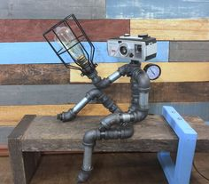 Robot Lamp, Pipe Lamp, Industrial Decor, Steampunk Lighting, Pipe Decor, Man Cave, Junk Style, clever RAVEN, Pipe Lighting, Industrial Lamp by TheCleverRaven on Etsy