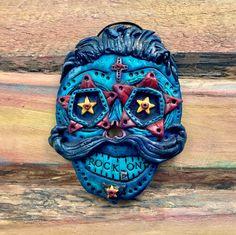 Rock On / Colorful / Blue / Star / Rockstar Male Sugar Skull Keepsake Polymer Clay Wall Ornament, by Mama Chickpea!