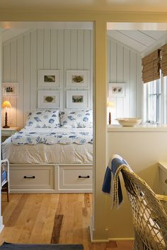Under bed drawers eliminate the need for dressers and are great in a small cottage or tiny home.