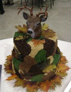 Camouflage cake for hunters using deer head ornament.