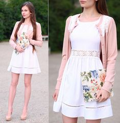 Awwdore Pink Cardigan, Sheinside White Dress, Romwe Pastel Floral Clutch Bag, Asos Leather Nude Heels