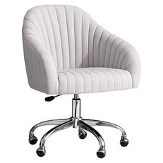 Soho Desk Chair, Light Grey Linen Blend