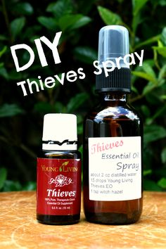 Make your own DIY Thieves Spray. Antibacterial Spray- great for doorknobs, toilet seats, restaurant tables, and more! Use Young Living Thieves essential oils #yleo