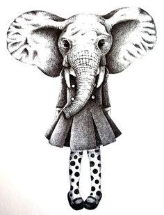 girl elephant       I drew with a pen . by mayuko