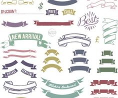 Colorful vintage ribbons vector