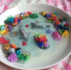 Polymer Reef Sharks in China Bowl by CherryblossomTears on Etsy