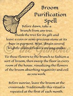 Broom Purification Spell, Book of Shadows Spell Page, Wiccan, Witchcraft, Pagan